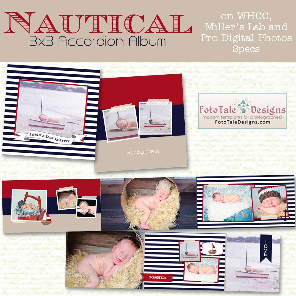 Nautical 3x3 Mini-Accordion Album- custom photo templates