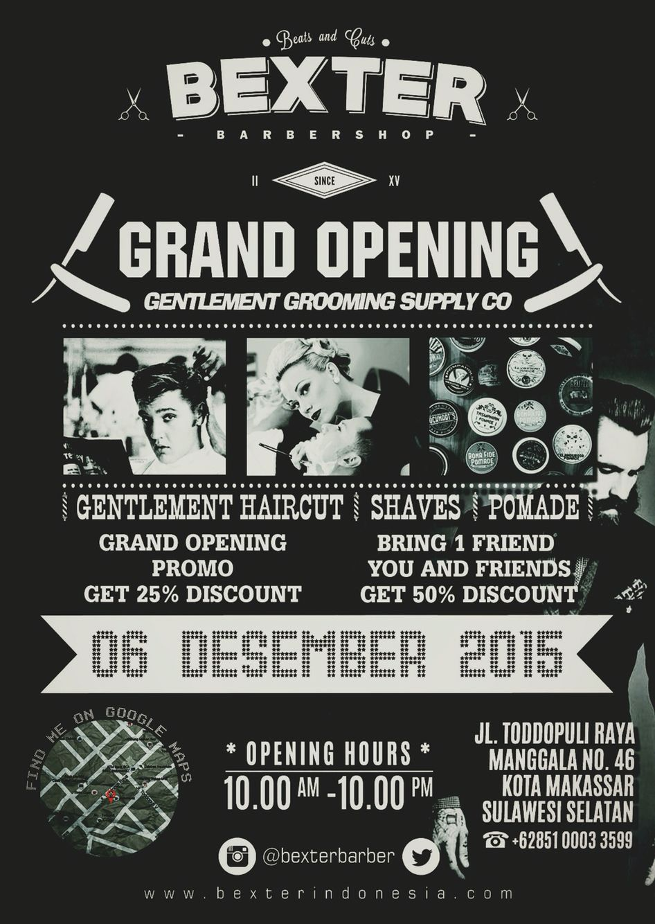 Vintage Poster Barbershop Grand Opening Makassar Indonesia - Hairstyle barbershop indonesia