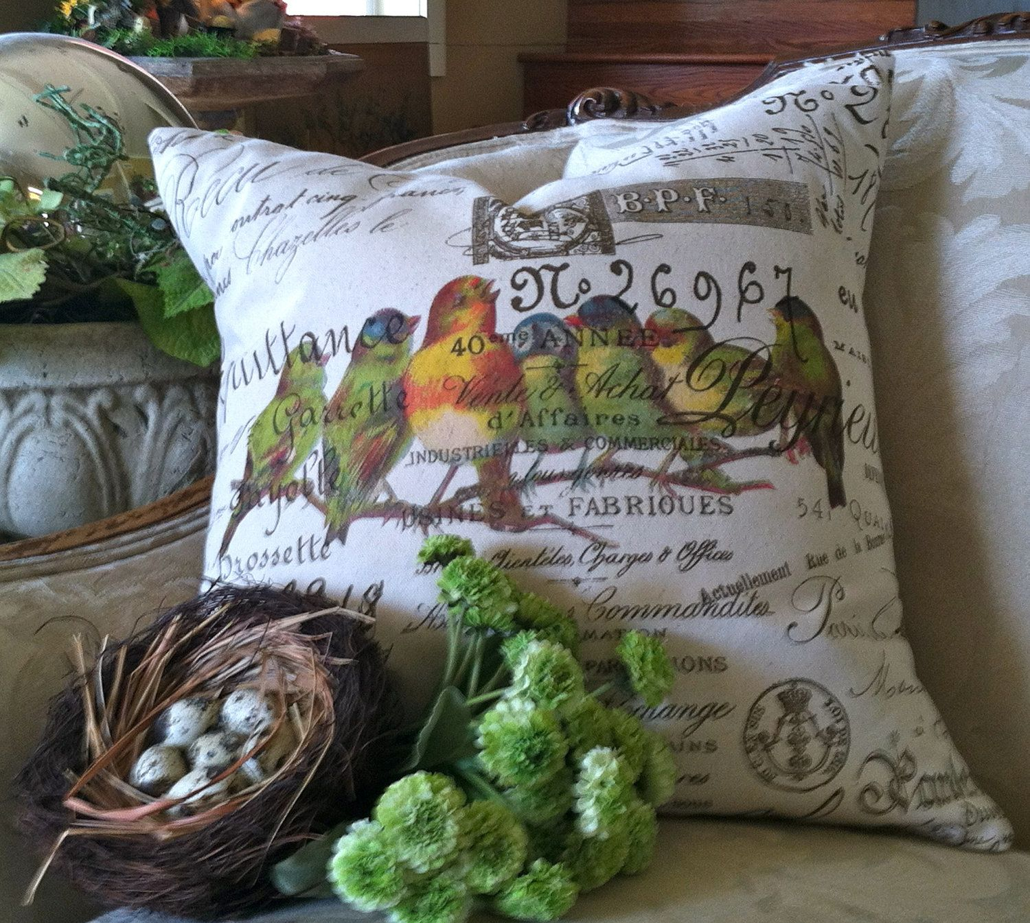 Pillow cover burlap and canvas french script bird gathering by