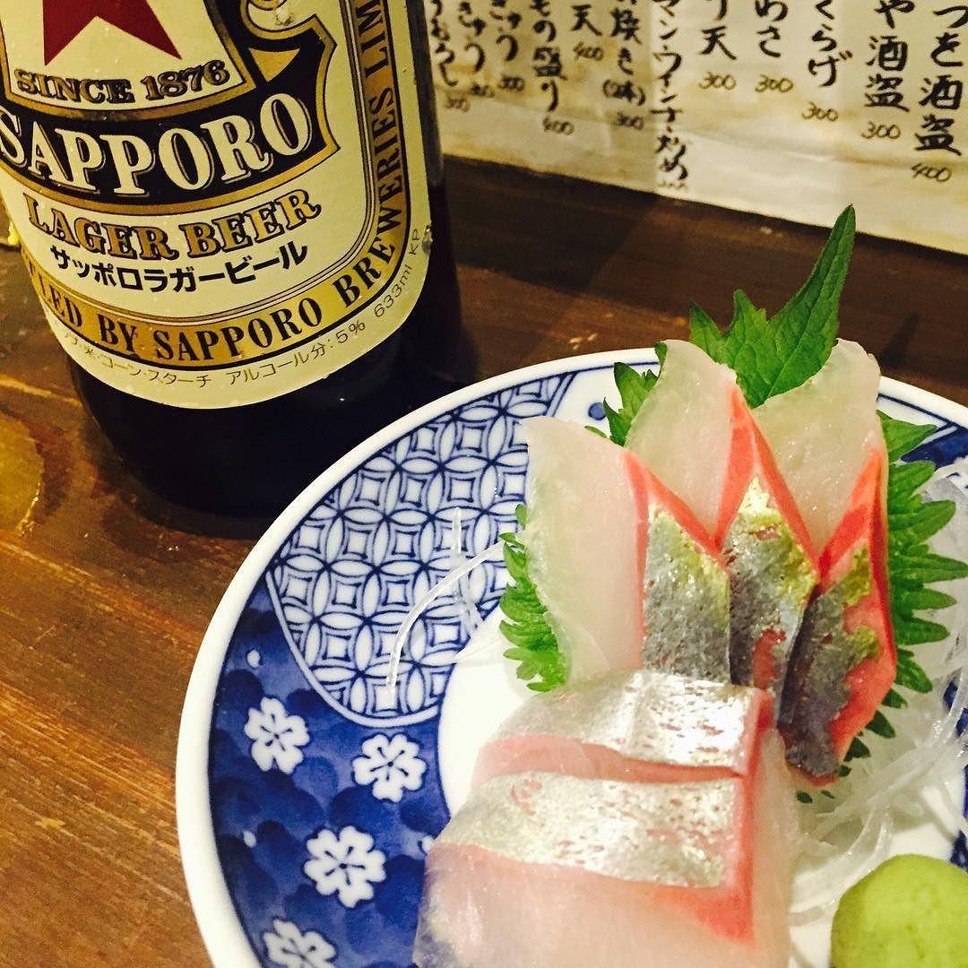 シマアジと赤星とやりきったワタシ sashimi naned Shimaaji and beer and meafter workin' #成田#酒場#虎屋#居酒屋 #sashimi#beer by monchumitsu
