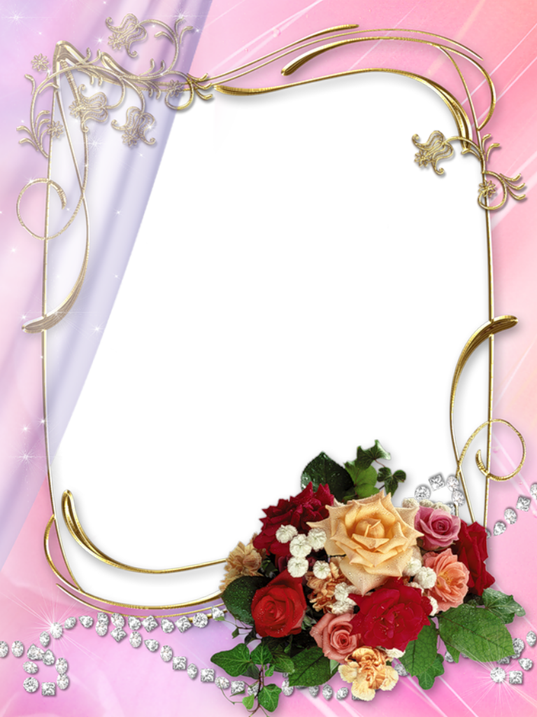 Golden-Floral-Border-Photo-Frame-with-Flower-Bouquet-on-Pink ...
