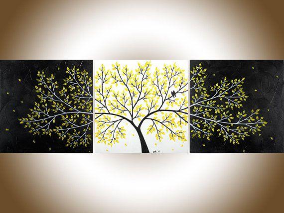 Black White yellow 60Abstract birds art original artwork | Wall ...