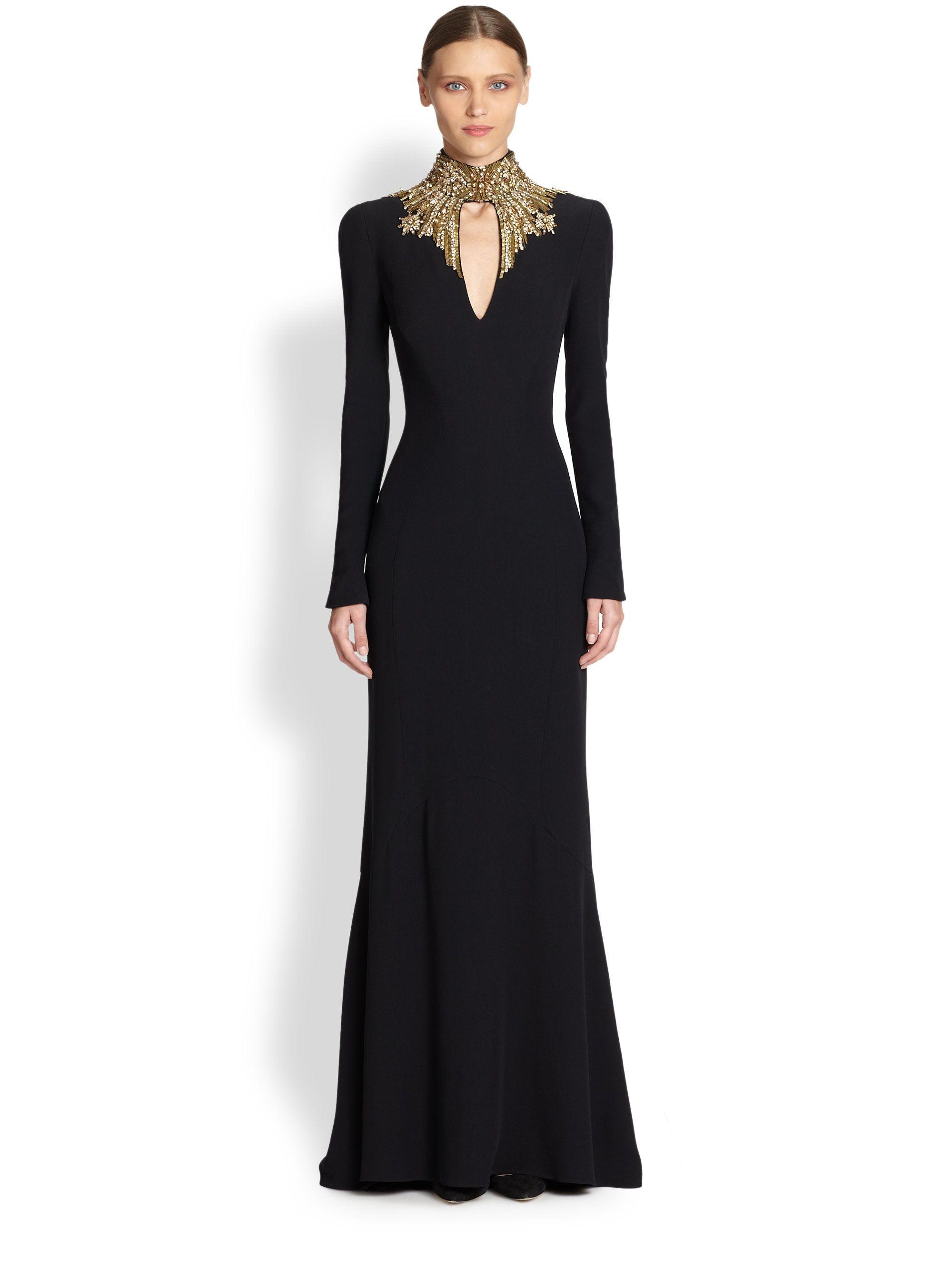 Alexander Mcqueen Crepe Jewelneck Gown in Black   My Style ...