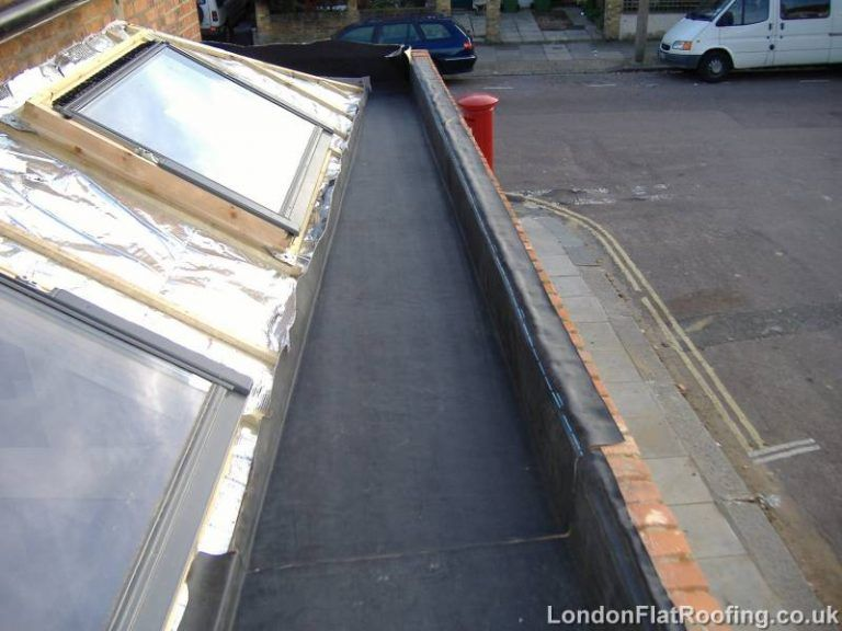 Box Gutter Being Lined With EPDM Single Ply Rubber