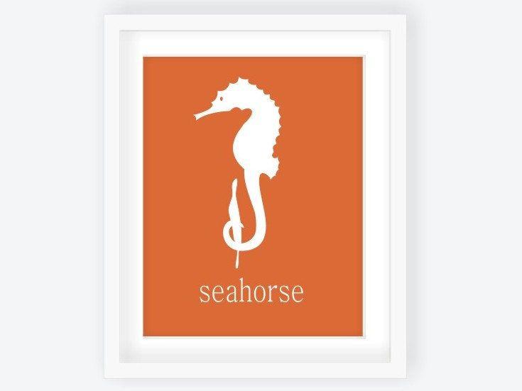 Seahorse Modern Nursery Art Print in Coral, Personalized Custom Nautical Nursery Decor, Playroom Art, Ocean Nursery, Sea Nursery - 8x10. $15.00, via Etsy.