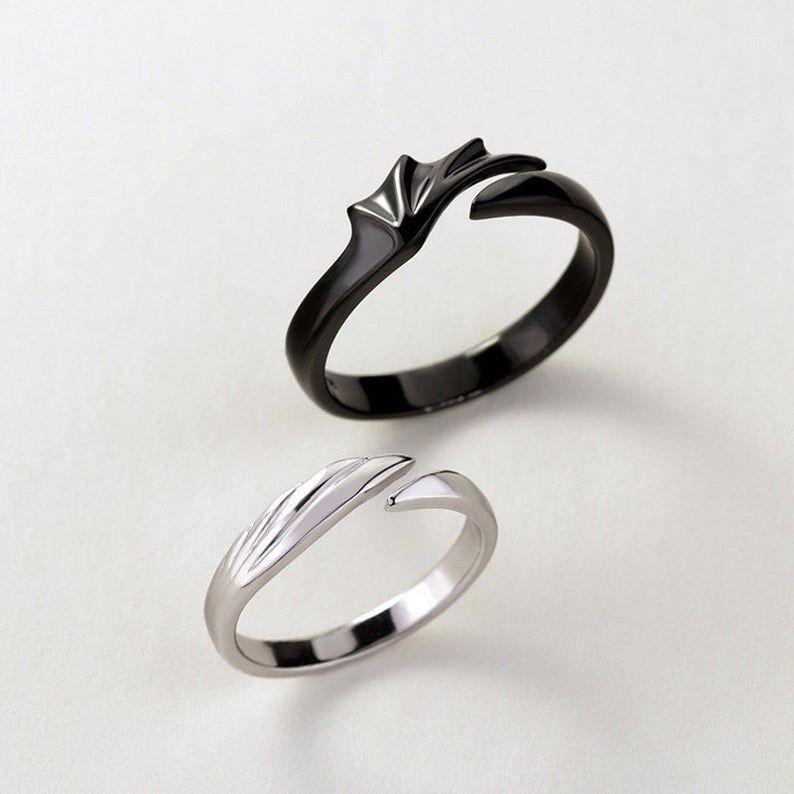 Angels Vs Devils Matching Couples Ring Set Promise Rings For Couples Matching Couple Rings Couples Ring Set Matching Promise Rings