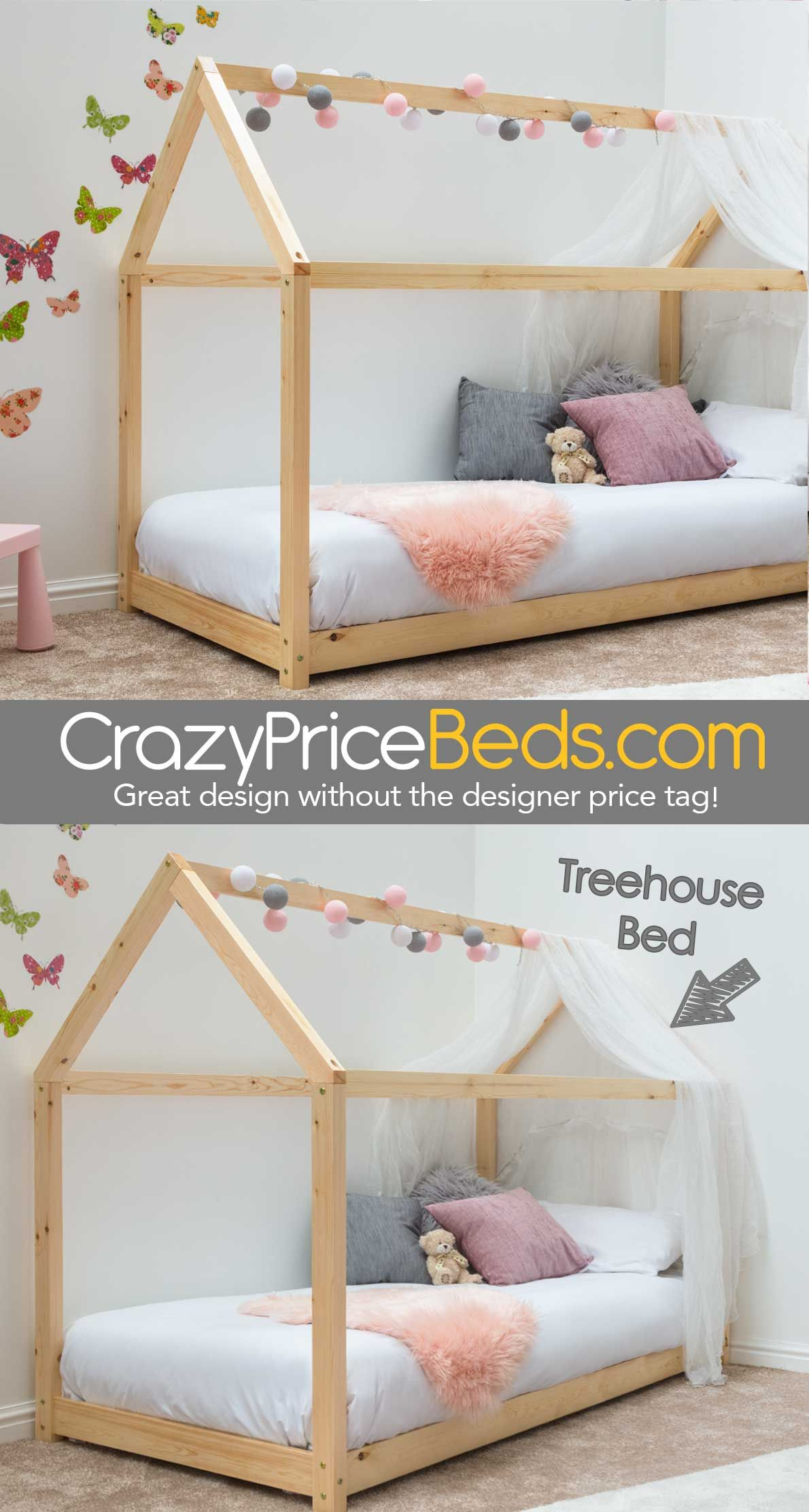 House Bed Frame Uk Treehouse House Style Natural Pine Wooden Kids Bed Frame Single