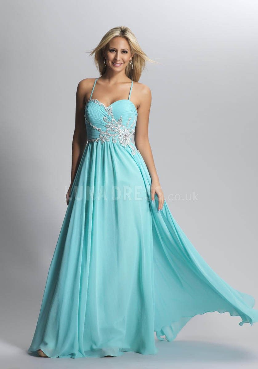Chiffon floor length spaghetti straps natural waist a line prom gown
