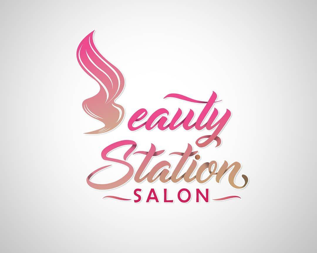 تصميمي ل شعار خاص بصالون نسائي تم تشبيه حرف B بشكل شعر وتم خط الحروف الإنجليزية بعناية Beauty Station Salon Logo Home Decor Decals Home Decor Decor
