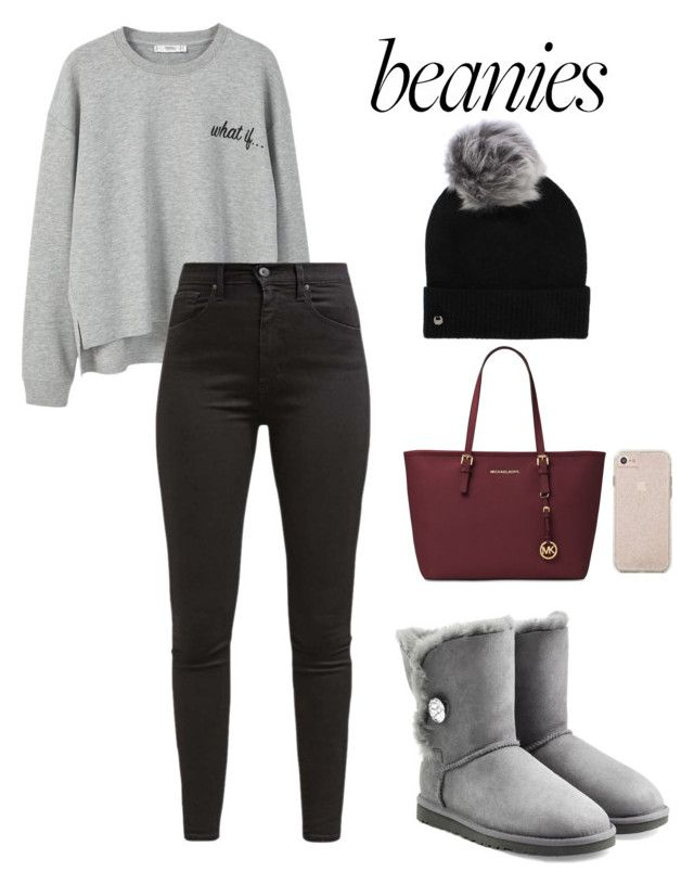 """""""B&G Pom Pom Beanie"""" by tvw-fashion ❤ liked on Polyvore featuring MANGO, Levi's, UGG and Michael Kors"""