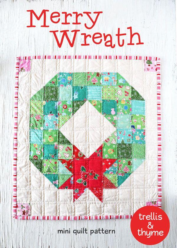 Pdf Pattern Merry Wreath Mini Quilt Pattern Christmas Mini Etsy Quilt Sewing Patterns Mini Quilt Patterns Christmas Quilt Blocks
