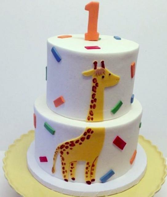 Round 2 Tier First Birthday Cake With Giraffeg Birthday Parties