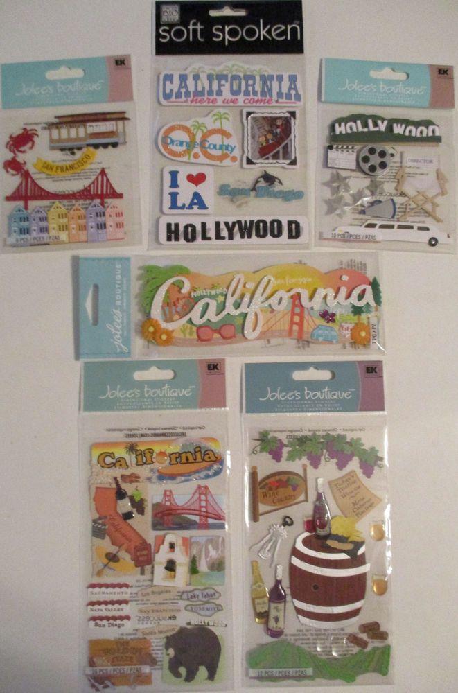 Scrapbooking Stickers Lot Jolee's Boutique CALIFORNIA Hollywood San Francisco  #JoleesBoutique #DimensionalEmbellishments