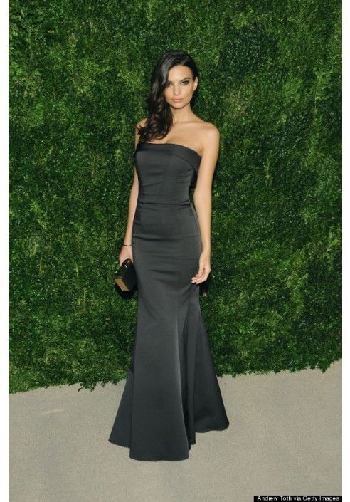 e7809da6f23ece Emily Ratajkowski Black Strapless Mermaid Celebrity Dress CFDA Fashion  Awards