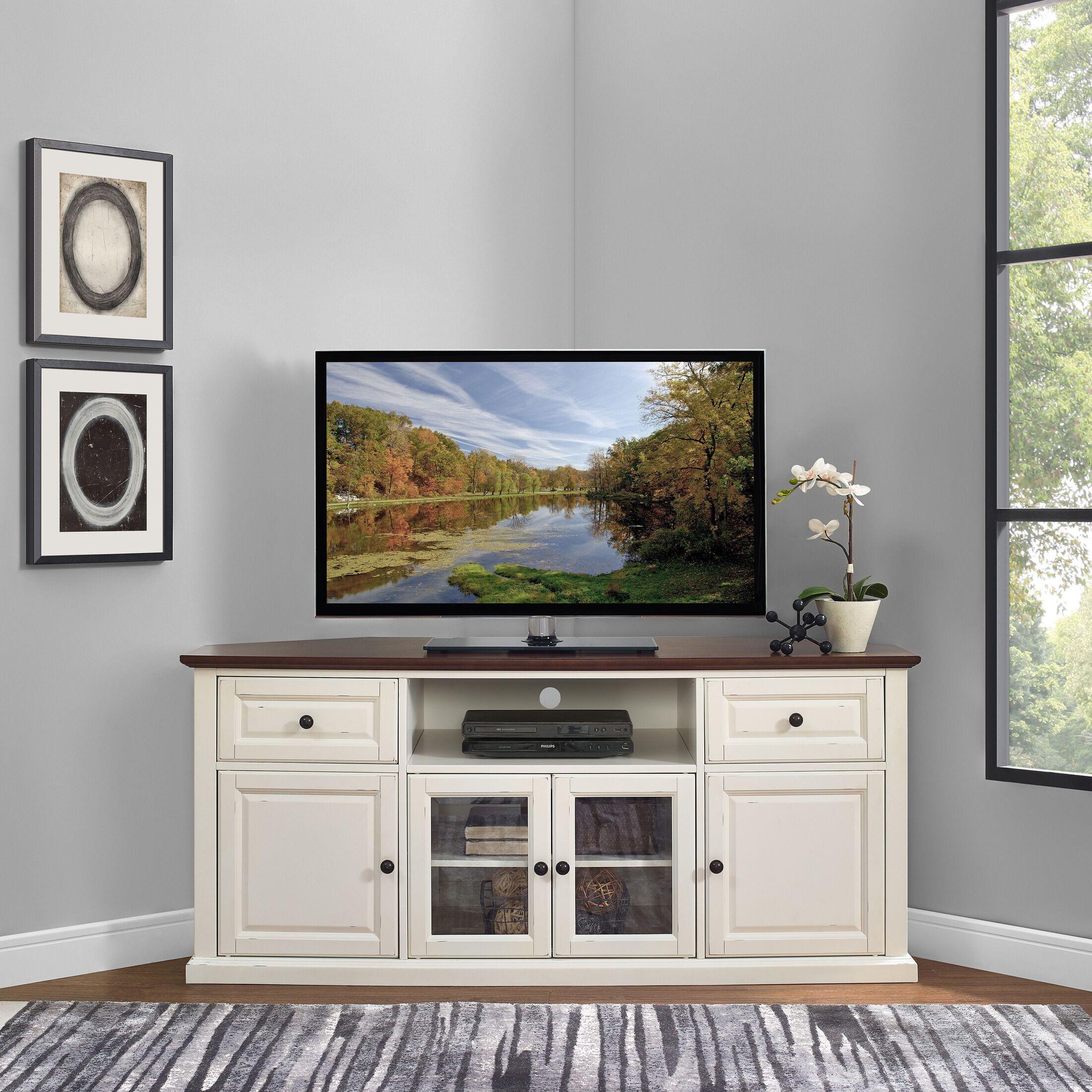 Brooke Corner Tv Stand In 2021 Corner Tv Stand Corner Tv Cabinets Corner Tv Stands
