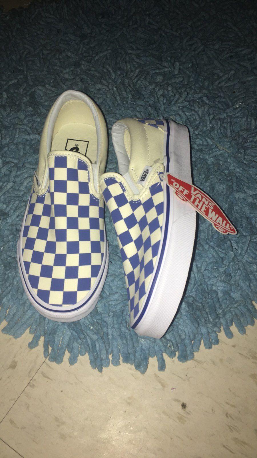 62dd643ebe04 Blue and white checkered vans slip ons
