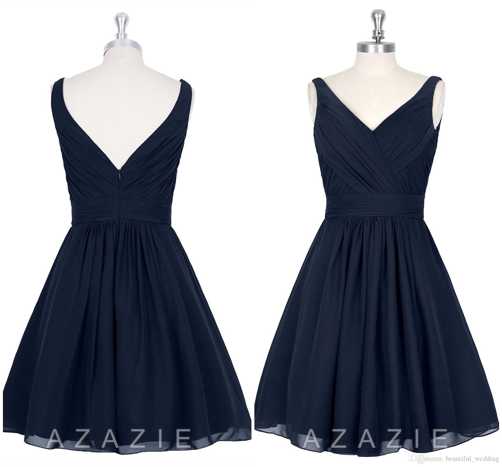 navy blue knee lenght bridesmaid dresses v neck custom made