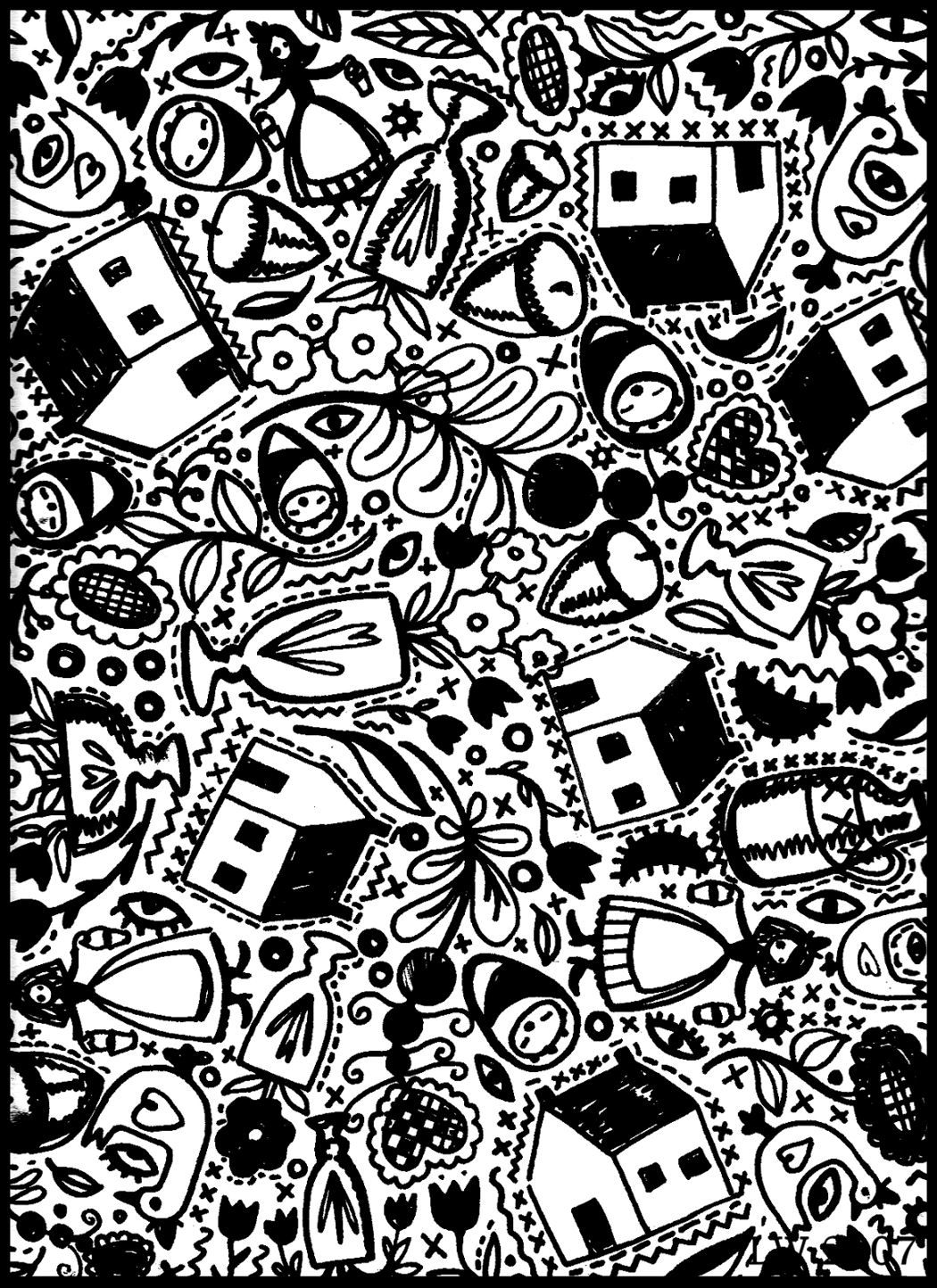 Americana Doodle Coloring Page by Leslie Wilson