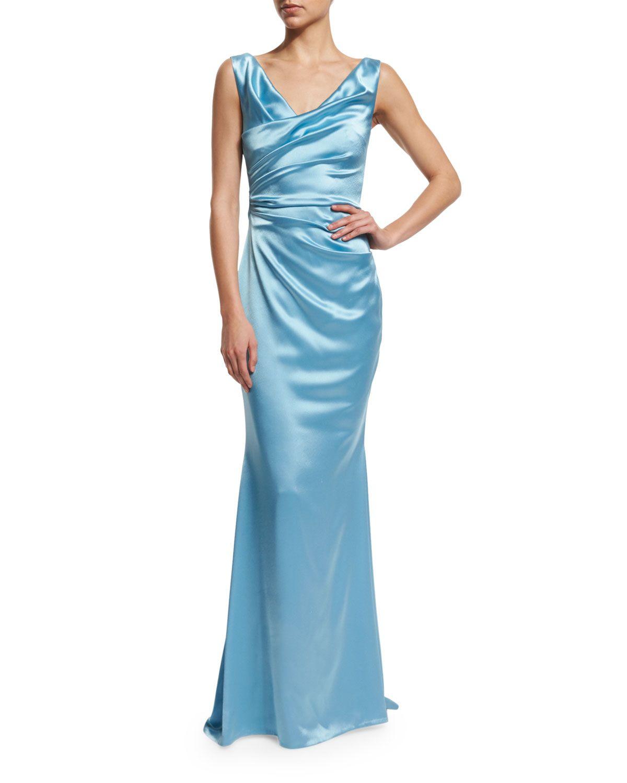 Holden Sleeveless Ruched Gown, Oxford Blue - Talbot Runhof | *Neiman ...