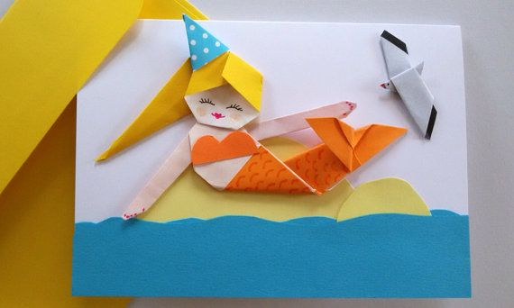Handmade Mermaid Birthday Card Origami Paper Mermaid 3d Card For