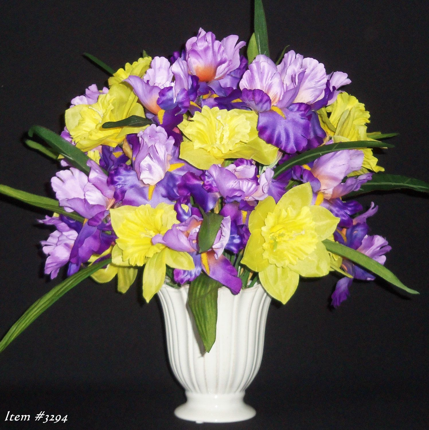 Silk Flower Arrangement Purple Iris And Yellow Daffodils In A White