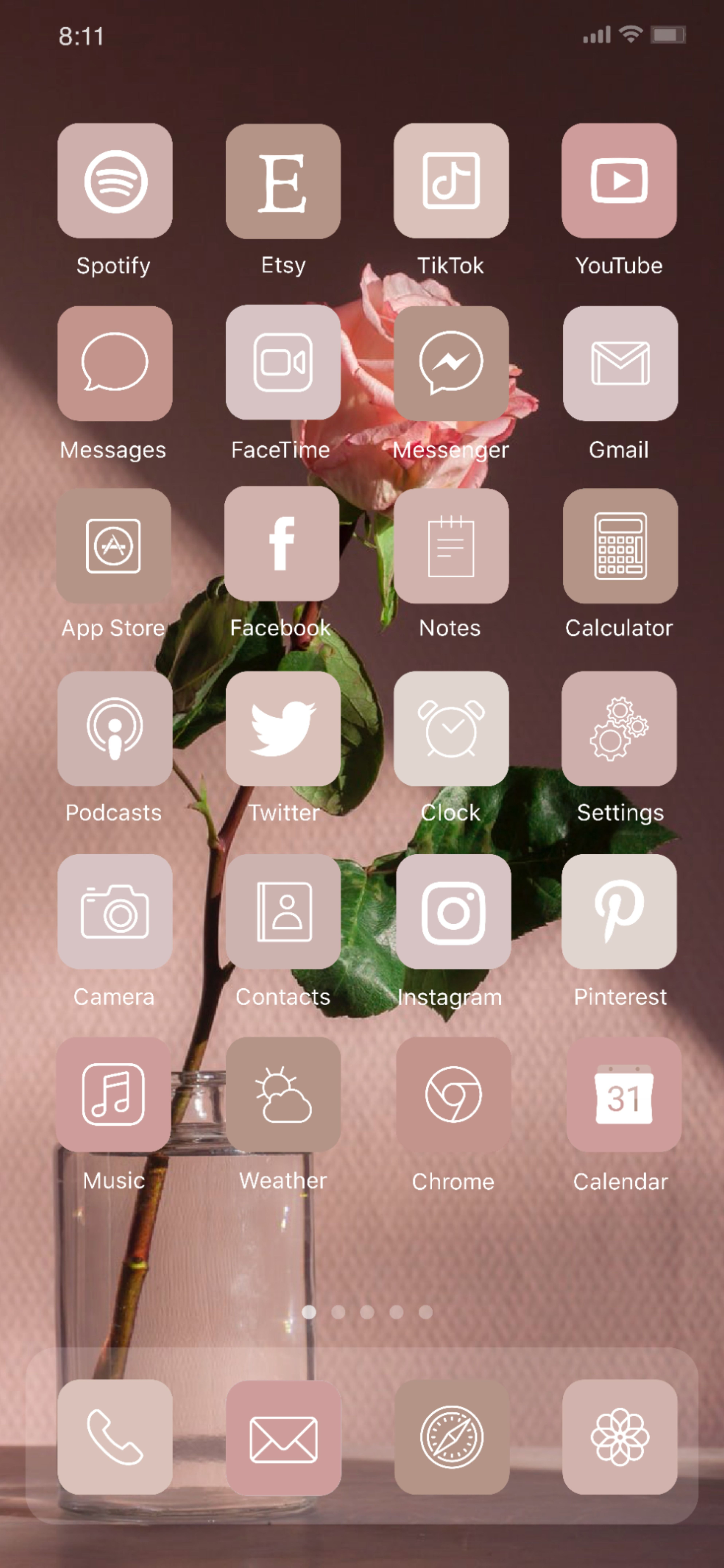 Rose Pink Neutral Aesthetic Iphone App Icon Home Screen Ideas Inspo Inspiration App Covers Ios 14 In 2021 App Icon Homescreen App Covers