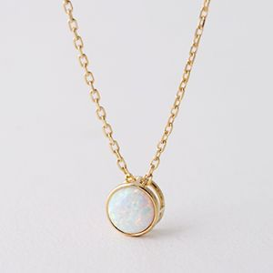 Gold Opal Birthstone Necklace Sterling Silver from Kellinsilver.com