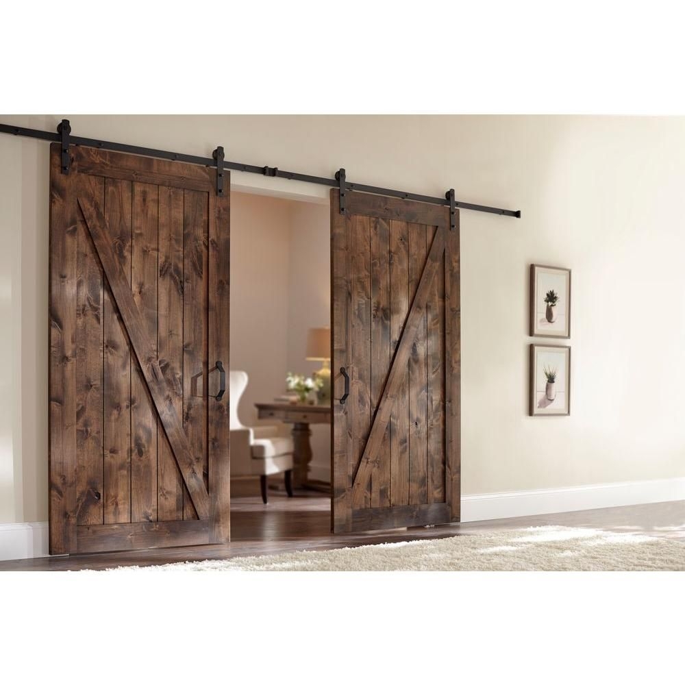 Z-Bar Knotty Alder Wood Interior Barn Door Slab with Sliding Door Hardware  Kit