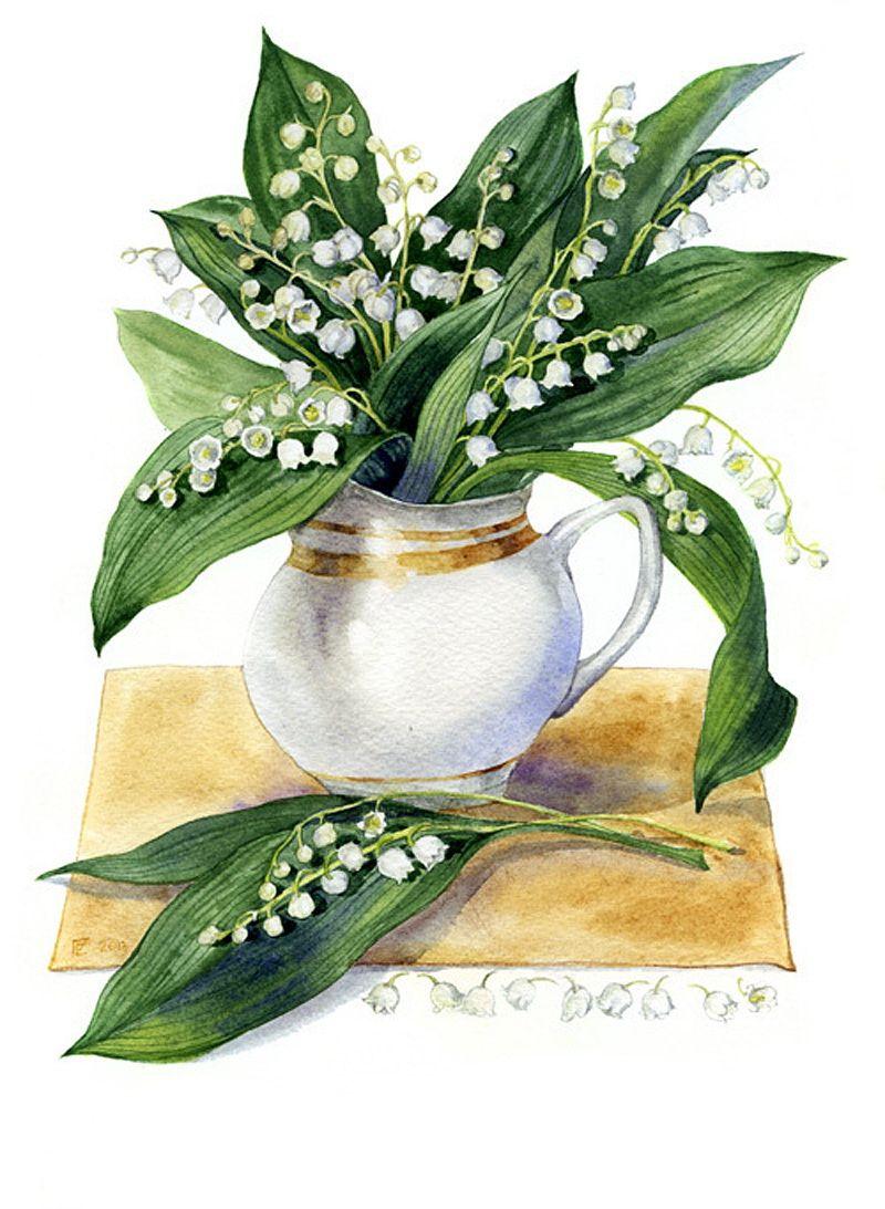 рисунки ландыши в вазе стиле