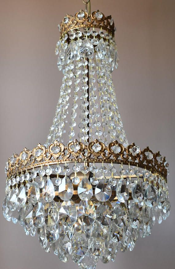 Mid Century Chandelier Antique Vintage Home Living Pendant French Crystal Lamp Light