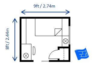 Here\u0027s another 8 x 9ft (2.44 x 2.74m) twin / single bedroom layout which fulfills the 70 square foot code requirement. The layout doesn\u0027t work nearly as ...