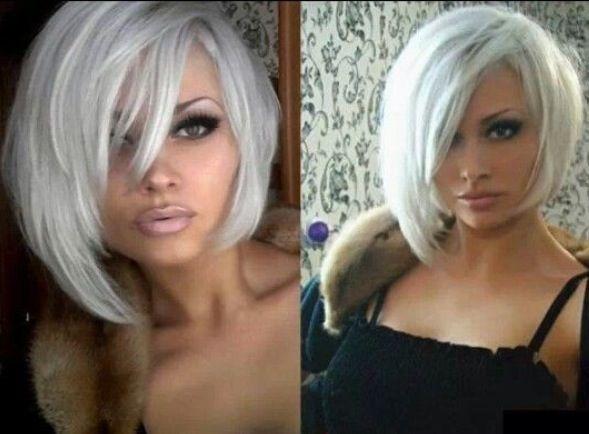 Asymmetrical Bobs Short Hair Styles Platinum Blonde Hair