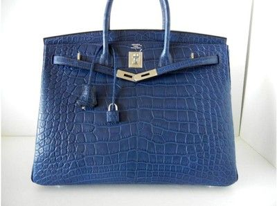 Hermès Bleu de Malte Matte Alligator 40cm Birkin Bag with Palladium Hadrware