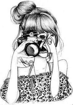 Chica Sacando Foto Cosas Lindas Para Dibujar Boceto Camara De