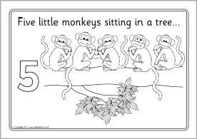 Five Little Monkeys Colouring Sheets Sb4318 Sparklebox 5 Little Monkeys Five Little Monkeys Little Monkeys