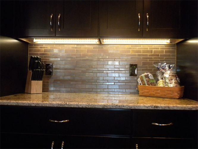 Cool Kitchen Backsplash, Dark Cabinet with lighter counter | Kitchen ...