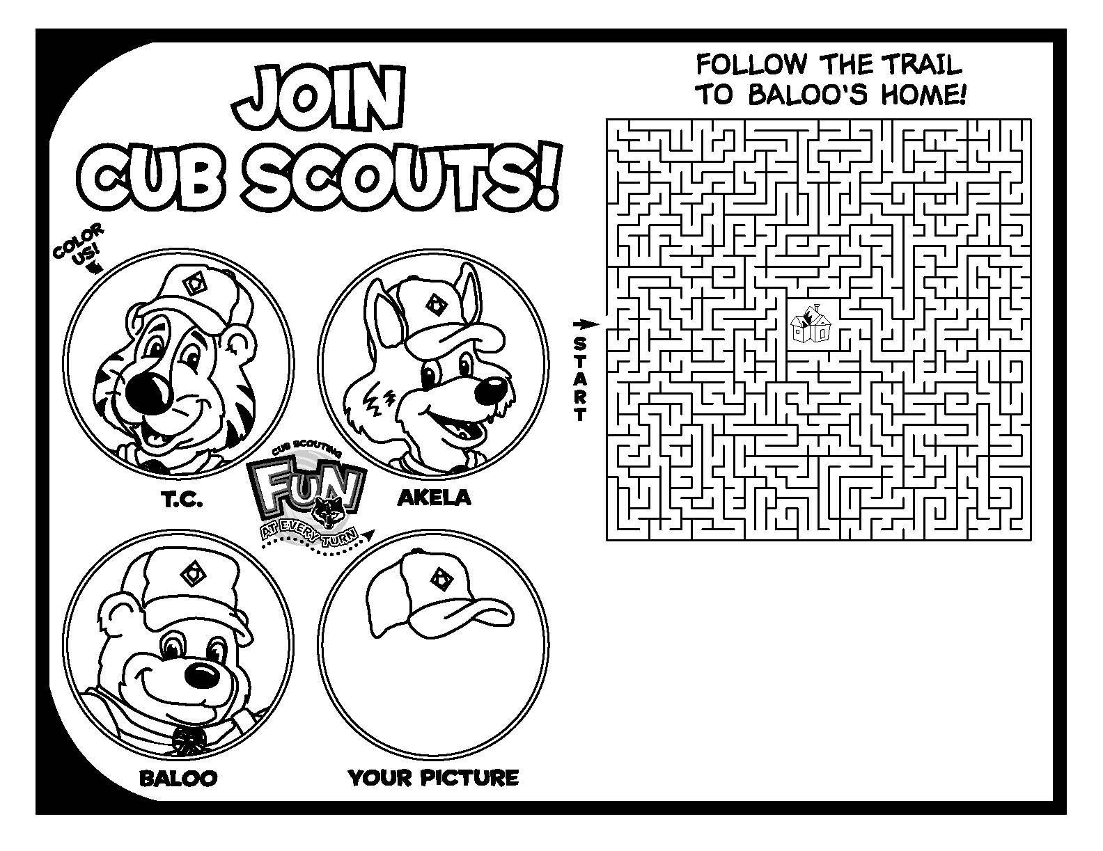 Cub Scout Coloring Activity | Printable Cub Scout Coloring Maze ...
