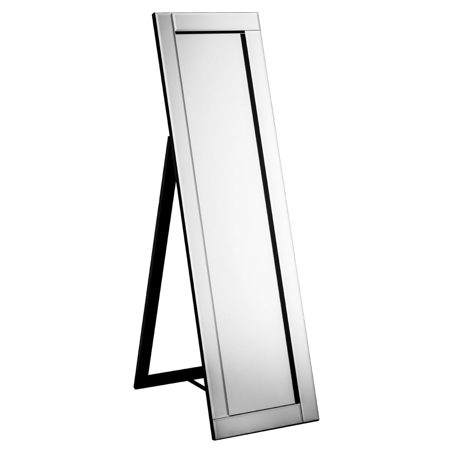 Alina Floor Standing Mirror With Black Velvet Trim Achica