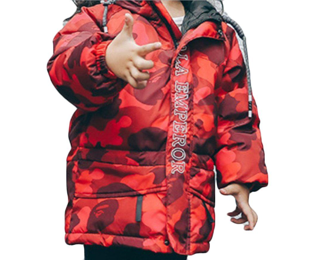 8e45b60e297c3 SportsX Kids Hood Camouflage Mid-long Letter Thick Boys Down Puffer Coat Red  130cm.
