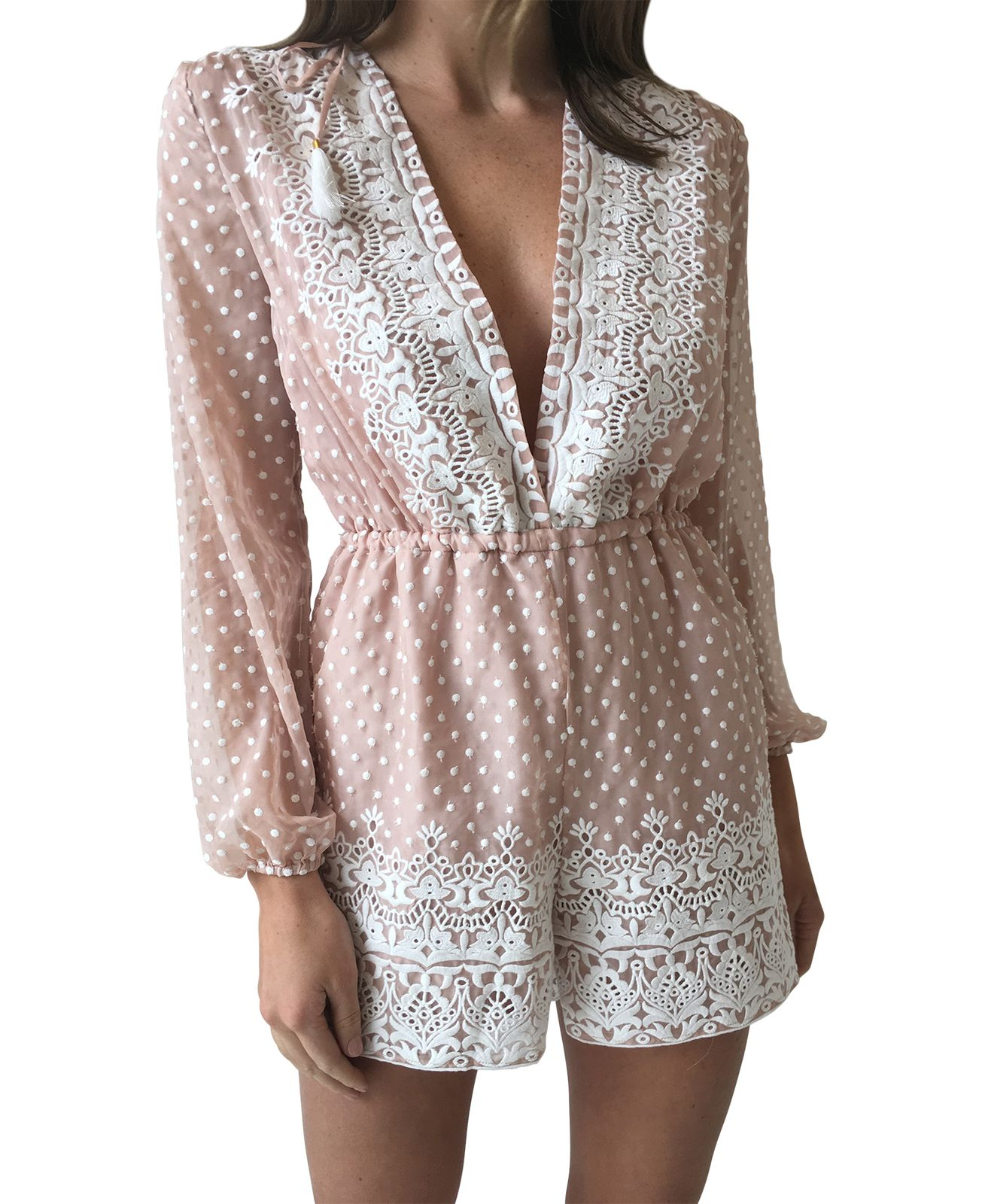 b92bae5eba Thurley Amalie Embroidered Onesie in Nude Ivory  Size  10