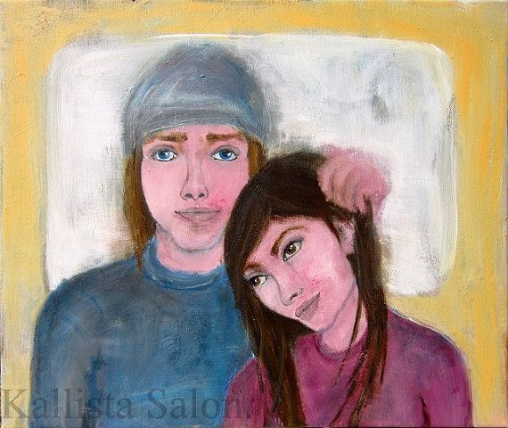 """""""Her Instinct Never Lies"""" Original Portrait Painting Couple laying on bed by KallistaSalon"""