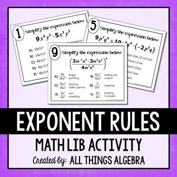 Exponent rules worksheet 2 answers
