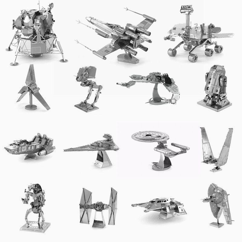 DIY 3D Metal Puzzle Star Wars / Star Trek Robot Fighter Model Metallic Nano Puzzle Toys For Adult Children Brinquedos Educativos