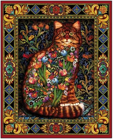 """Tapestry Cats puzzle.  If you like a challenge this 1000 piece jigsaw puzzle is for you.  Artist Lewis T. Johnson: Item 402. 1000 piece jigsaw puzzle: Finished size 24"""" X 30"""".  Gorgeous!"""