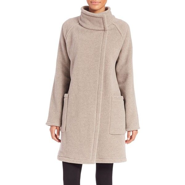 James Perse Funnelneck Coat ($500) ❤ liked on Polyvore featuring outerwear, coats, apparel & accessories, natural, james perse, long sleeve asymmetric coat, long sleeve coat, asymmetrical coat y pink oversized coat