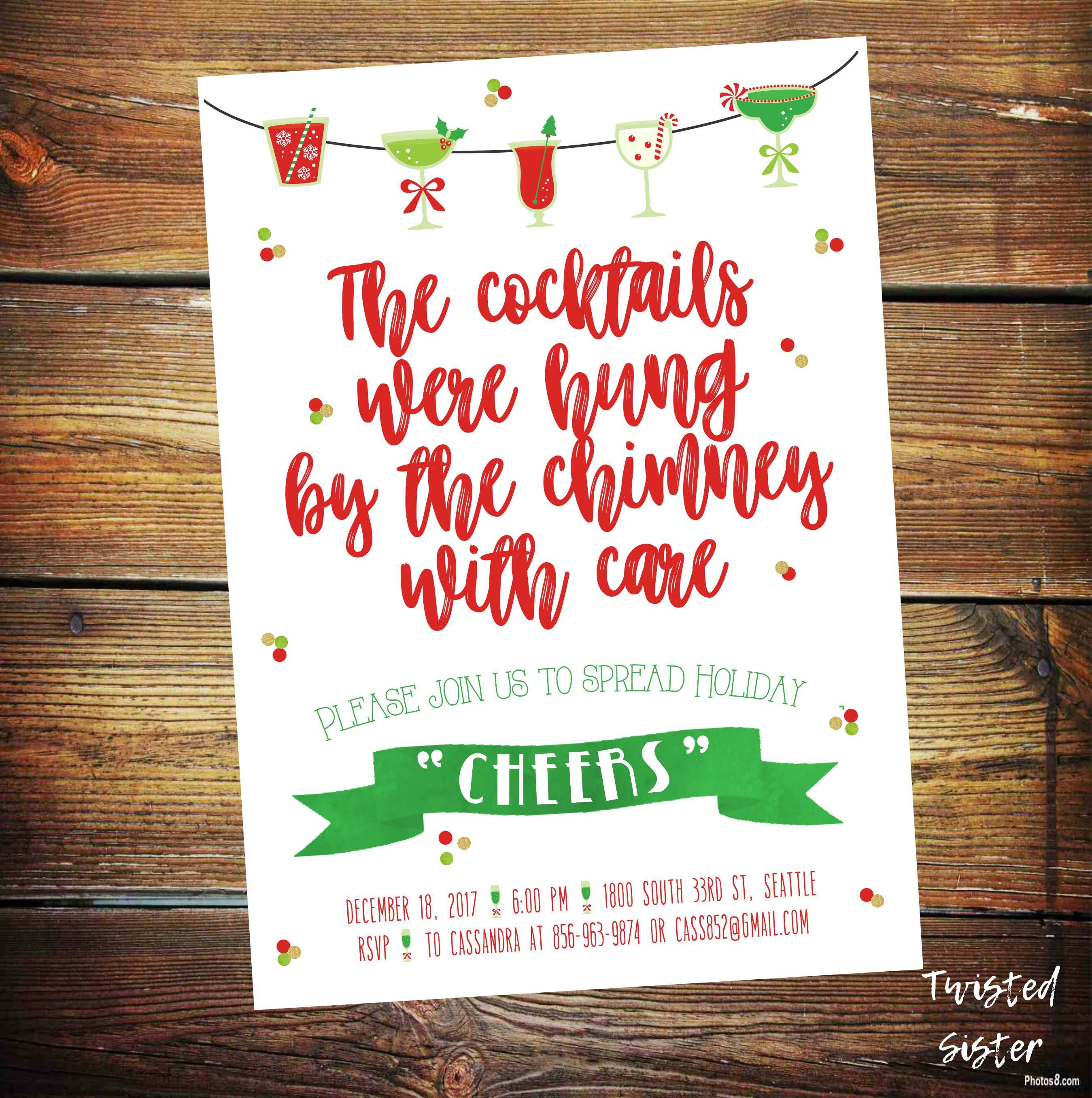 Christmas Cocktails Party Invitation Holiday Party Invite Cookies
