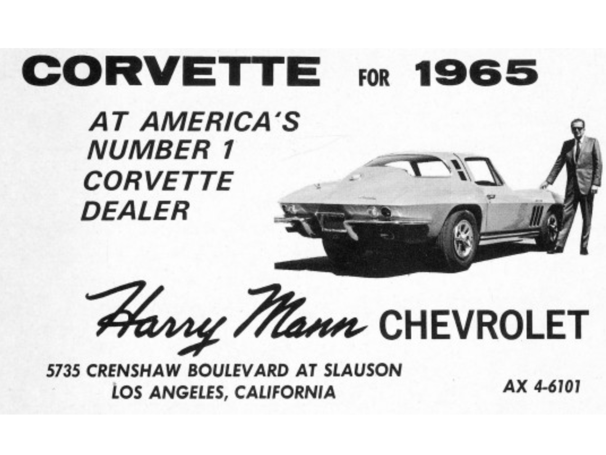 1965 Harry Mann Chevrolet Dealership Los Angeles California Chevrolet Dealership Vintage Corvette Chevrolet