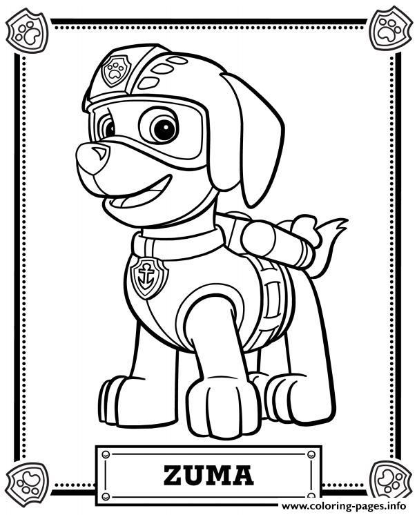 Print Paw Patrol Zuma Coloring Pages Paw Patrol Coloring Paw