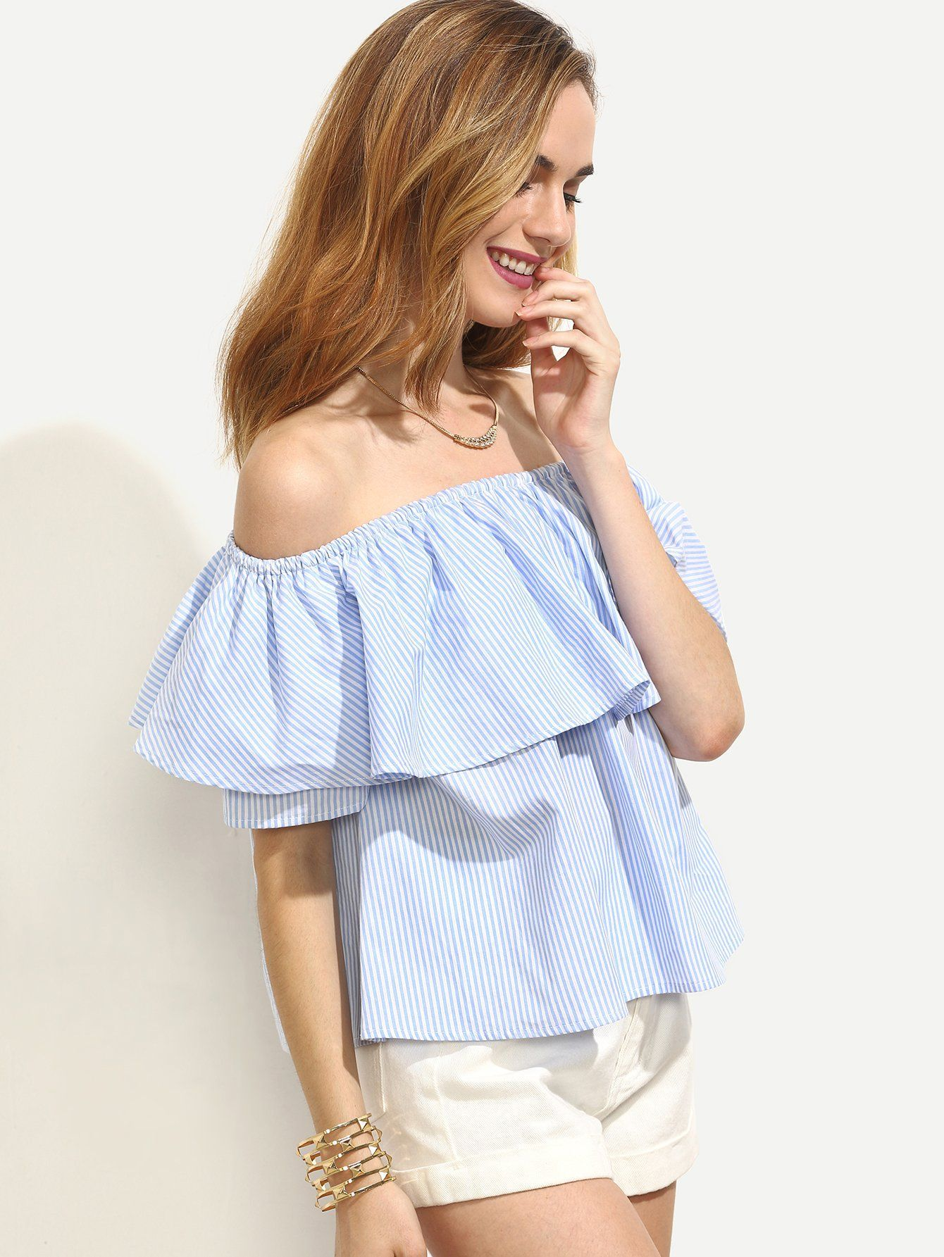 79b345485a31c Material  100% Cotton Color  Blue Pattern Type  Striped Collar  Off the  Shoulder Style  Vacation Decoration  Ruffle Sleeve Length  Short Sleeve  Fabric  ...