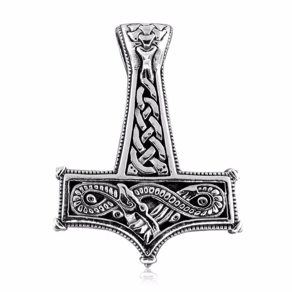 925 Sterling Silver Viking Knotwork Thor Hammer Mjolnir Naga Dragon Pendant 16gr